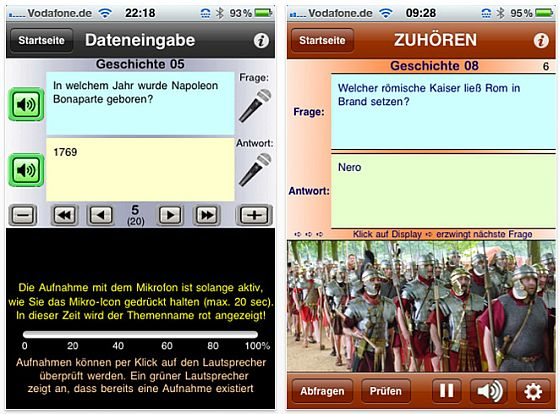 Lernen mit System per Sprachausgabe iPhone-App von Josef Karl - Screenshots
