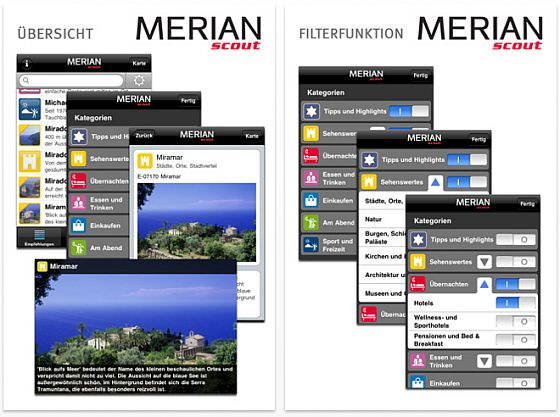 Merian scout  iPhone Reiseführer Screenshots