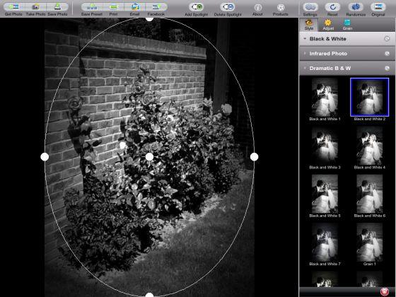 Dramatic Black & White Bedienoberfläche auf dem iPad