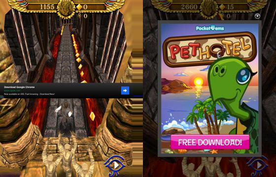 Pyramid Run Screenshots mit Werbung