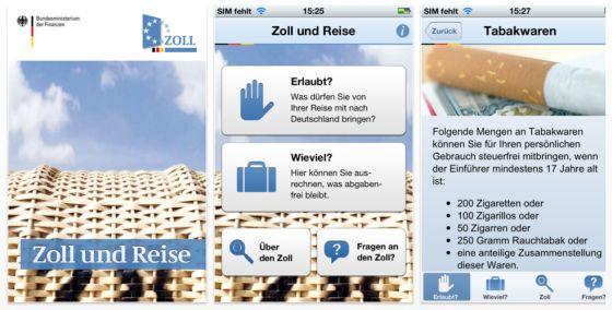 Zoll und Reise iPhone App vom Zoll
