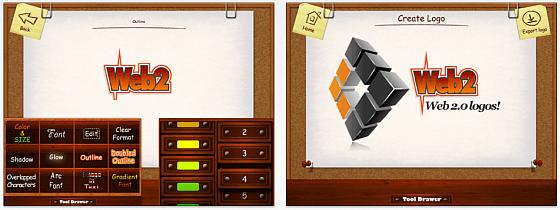 In den Abbildungen sieht man gut, wie der Logo Maker funktioniert.