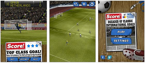 Im Fußball-Geschicklichkeitsspiel Score! kannst Du 140 legendäre Tore der Fußballgeschichte auf Deinem iPhone, iPod Touch oder iPad nachspielen.