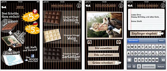 Mit der App chocogreets von myswisschocolate verschickst Du im Handumdrehen einen leckeren Fotogruß aus feinster Schweizer Schokolade. Die App ist ganz einfach aufgebaut - und so ist Dein Gruß zum Anbeissen schon in zwei, drei Minuten unterwegs und macht dem oder der Empfänger/in eine Freude.