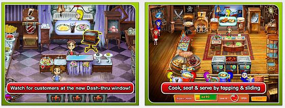 Die drei kosten,losen Vollversionen folgen dem gleichen Spielprinzip. Bei Cooking Dash ist es ein Vergnügungspark-Restaurant, in dem Du Speisen vorbereitest, kochst und grillst.