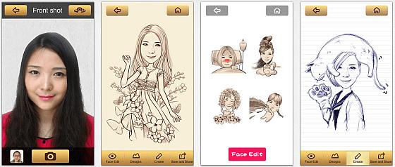 Mit der App Momentcam fügst Du Dein Gesicht in verschiedene lustige Zeichnungen ein. Mit etwas Geduld sind die Bilder tatsächlich brauchbar.