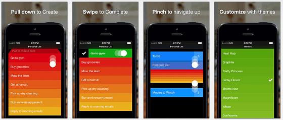 Mit wenigen Bewegungen auf dem Display verwaltest Du jede Art von Liste. Die Farben stehen für die Wichtigkeit der Listenpunkte - wichtig bei To-do Listen.