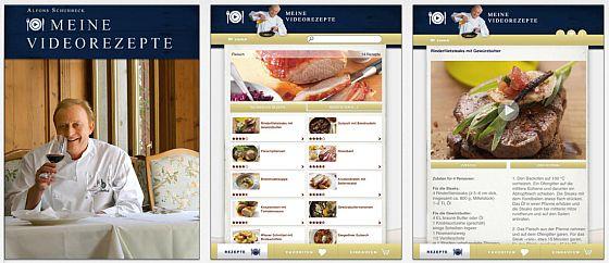 Hochwertig gemacht und durchaus unterhaltsam präsentiert Alfons Schuhbeck in der App rund 100 Rezepte aus den Bereichen  Beilagen, Fisch, Fleisch, Geflügel, Gemüse, Kartoffeln, Nachspeisen, Pasta & Co., Salate, Saucen, Schnelle Rezepte, Snacks & Sandwiches, Suppen, Vegetarische Rezepte sowie Vorspeisen.