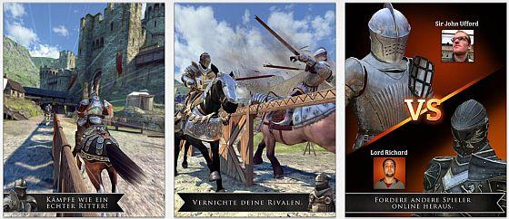 Reite in Rival Knights Ritterturniere gegen Computergegner und echte Mitspieler.