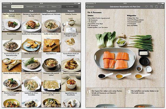 Links die Rezeptübersicht, rechts siehst Du die Zutaten zum gebratenen Sesamlachs mit Pak Choi