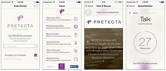 Mit Pretecta wird der Nachhauseweg sicherer. Die App ist einfach bedienbar und übersichtlich gestaltet.