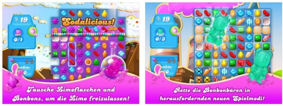 Alles wie gewohnt, aber um einige neue Ideen ergänzt: Candy Crush Soda Saga