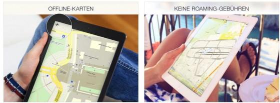 Mit Maps.me hast Du die Karten der Welt auf Deinem iPhone oder iPad - aber Du musst sie runterladen, bevor Du losfährst. Am Besten über Dein WLAN Zuhause.