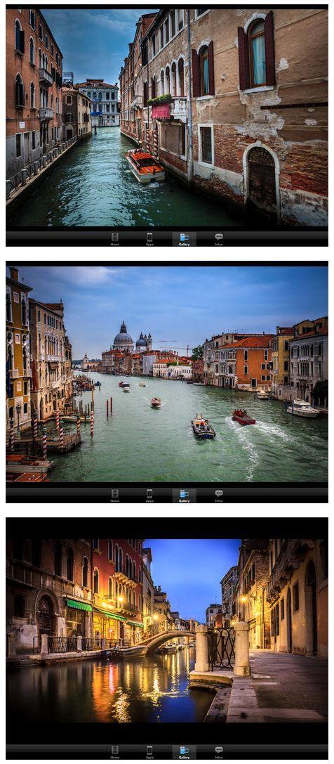 Hier siehst Du drei Bilder aus der App, die Serge bearbeitet hat. Wie er zu den Ergebnissen kam, erklärt er in sechs Videos für sechs unterschiedliche Motive aus Venedig.