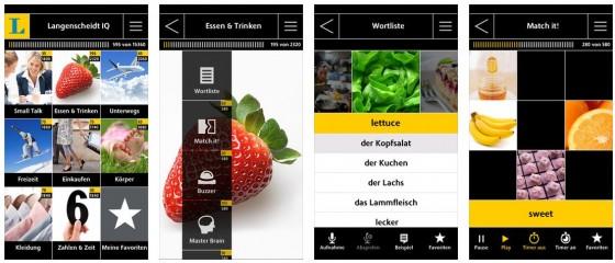Schön klar gestaltet: Die Langenscheidt IQ Apps sind eine gute Hilfe beim Vokabeln lernen.