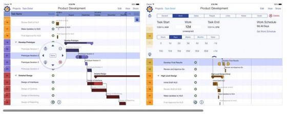 Übersichtliche Darstellung des Projektstatus auf dem iPad mit SG Project 5.