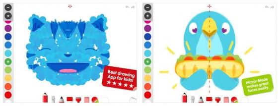 Die einfache Bedienung kommt den Kindern entgegen: Unten gibt es die verschiedenen Malwerkzeuge, an der Seite tippt man die gewünschte Farbe an. Der rechts gezeigte Spiegelmodus hilft beim Malen von Gesichtern.