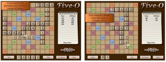 Five-O Deluxe ist ein Spiel zum Nachdenken - ob allein, oder online gegen andere Spieler. Ausgereifte Idee und einfach zu lernen.