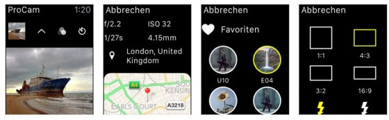 So erscheint ProCam 2 dann auf der Apple Watch - das Programm nutzt die Uhr zum Beispiel als Fernauslöser und Bildbetrachter.