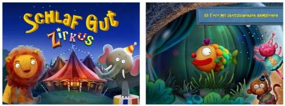 Die Kleinen begleiten in Schlaf gut Zirkus eine Schlange, einen Elefanten, einen Seehund, einen Löwen, einen Bären, einen Hasen und drei spaßige Flöhe zur Nachtruhe.  Für 1,99 Euro kann man noch einen Affen, ein Schwein und einen Fisch dazunehmen.