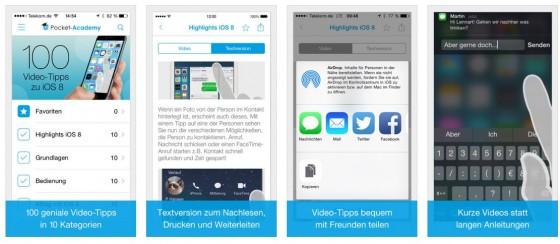Ordentliche Gestaltung und leicht verständliche Videos zu den unter iOS 8 verfügbaren Funktionen und Besonderheiten des iPhones oder iPads.