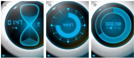 Die App Zeitmesser bietet verschiedene Möglichkeiten die Zeit zu messen und stellt die unterschiedlichen Uhren aufwändig dar.