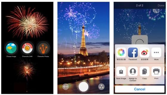 Die App Fireworks Cam legt über Eure Bilder eine Feuerwerksanimation in zwei Stufen. Einfach tippen, wenn Ihr denkt, dass es gut aussieht. Fertig ist das gepimpte Silvesterbild.