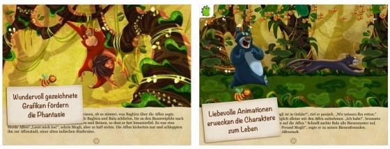Vorlesen lassen oder selbst lesen - und dabei die vielen Animationen entdecken: das Dschungelbuch als App hat viel zu bieten.