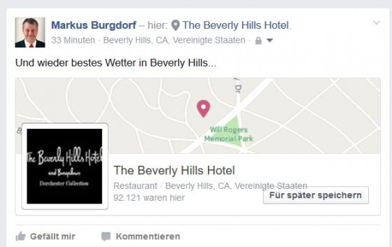 Passt doch. Sieht aus wie ein richtiger Post aus dem Beverly Hills Hotel...