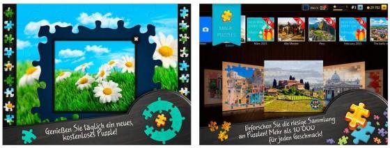 Jeden Tag ein neues Gratis-Puzzle und die Möglichkeit, aus eigenen Bildern Puzzles zu erstellen, sind die Highlights von Magische Puzzles.