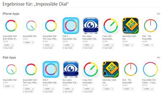 Ein Original - viele Fälschungen. Schade, dass Apple (und Google) da nicht durchgreifen und so offensichtliche Plagiate nicht zulassen. Das Impossible Dial-Original ist das Zweite von links bei den iPhone Apps und das Erste bei den iPad-Apps.