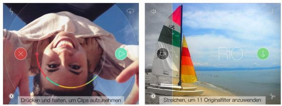 Mit Spark Kamera erstellst Du kurze Clips ganz einfach, die Du dann zu einem 45-Sekunden-Clip zusammensetzen und mit verschiedenen Filtern versehen kannst.