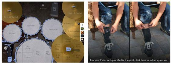 DrumKick bietet mit dem Gimmick der Bedienung der Kick Drum über ein zweites Gerät und die gute Konnektivität mehr als andere Drummer-Apps.