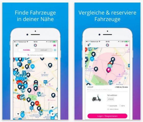 Auf der Karte von Free2Move werden die verfügbaren Fahrzeuge mit ihrer Position angezeigt. Ein Antippen genügt, um weitere Informationen abzurufen.