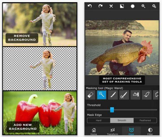 Bild eins und Bild 2 laden, dann freistellen und neu zusammensetzen. Die App bringt auch verschiedene Werkzeuge zur Anpassung der Farben mit.
