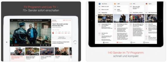 Mit dem Premium-Paket zu 9,99 Euro pro Monat kann man mit der App TV Spielfilm 70 Sender live ansehen und kommt per Klick vom Fernsehprogramm direkt zur gewünschten Sendung.