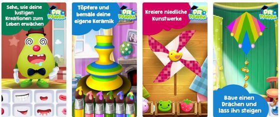 Sechs verschiedene Basteleien mit vielen Variationen entfalten die Kreativität der Kinder in der App Dr. Pandas Kunstunterricht für iPhone und iPad.