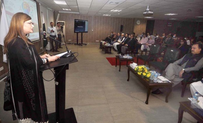 ISLAMABAD: August 27 – Secretary Board of Investment Mrs. Fareena Mazhar addresses the Launch of 6th Reform Action Plan for Ease of Doing Business 2022, at Board of Investment. APP photo by Irfan Mahmood