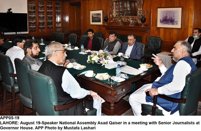 LAHORE: August 19-Speaker National Assembly Asad Qaiser in a meeting with Senior Journalists at Governor House. APP Photo by Mustafa Lashari