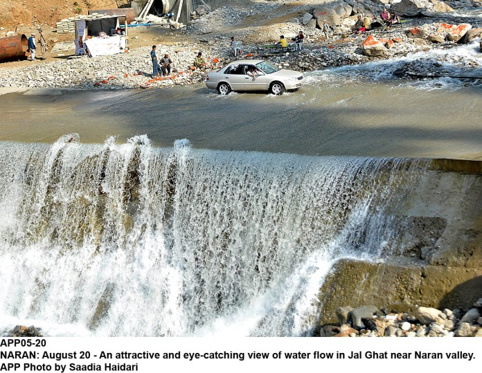 NARAN: August 20 - An attractive and eye-catching view of water flow in Jal Ghat near Naran valley. APP Photo by Saadia Haidari