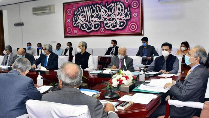 ISLAMABAD: August 31 - Adviser to the Prime Minister on Finance and Revenue, Dr. Abdul Hafeez Shaikh chairing a meeting of the Cabinet Committee on State Owned Enterprises (CCOSOES). APP