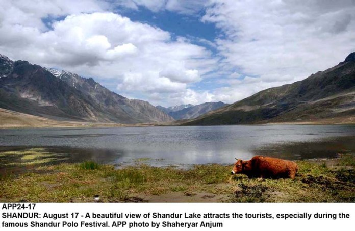 SHANDUR: August 17 - A beautiful view of Shandur Lake attracts the tourists, especially during the famous Shandur Polo Festival. APP photo by Shaheryar Anjum