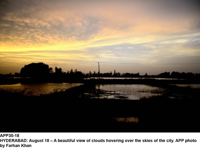 HYDERABAD: August 18 – A beautiful view of clouds hovering over the skies of the city. APP photo by Farhan Khan