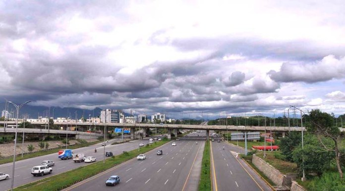 ISLAMABAD: August 21 – An attractive view of clouds hovering over the city in a pleasant weather in the federal capital. APP photo by Saleem Rana
