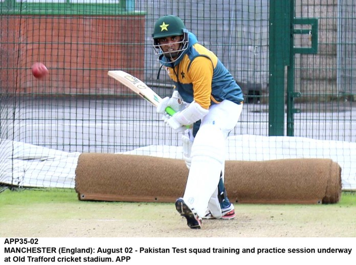 MANCHESTER (England): August 02 - Pakistan Test squad training and practice session underway at Old Trafford cricket stadium. APP