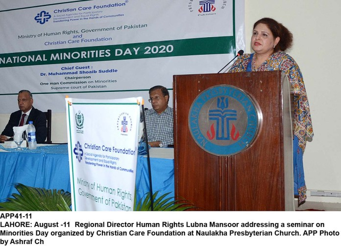 LAHORE: August -11- Regional Director Human Rights Lubna Mansoor addressing a seminar on Minorities Day organized by Christian Care Foundation at Naulakha Presbyterian Church. APP Photo by Ashraf Ch