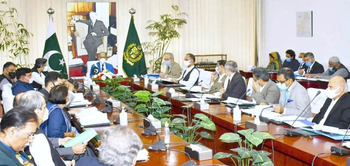 ISLAMABAD: August 27 – Adviser to the Prime Minister on Finance and Revenue, Dr. Abdul Hafeez Shaikh chairing a meeting of the Economic Coordination Committee (ECC) of the Cabinet. APP