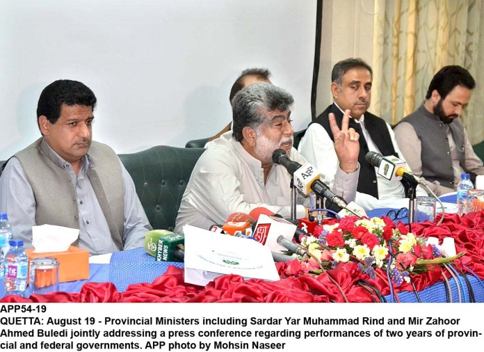 QUETTA: August 19 - Provincial Ministers including Sardar Yar Muhammad Rind and Mir Zahoor Ahmed Buledi jointly addressing a press conference regarding performances of two years of provincial and federal governments. APP photo by Mohsin Naseer