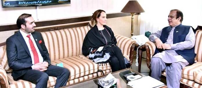 ISLAMABAD: August 24 - Senator Shibli Faraz, Federal Minister for Information and Broadcasting in a meeting with Ms. Gabriela Cuevas Barron, President of the Inter-Parliamentary Union. APP