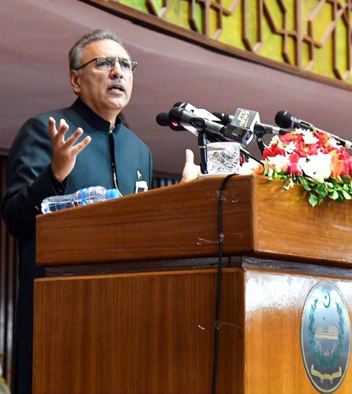 ISLAMABAD: August 20 - President Dr. Arif Alvi addressing the joint session of Parliament on Thursday. APP
